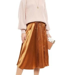 NWT Joie Alberic Satin Skirt Copper Size 8